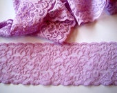 Elastic Lilac Scalloped Lace Trim, Lilac, 2 1/4 inch wide, 1 yard, For Accessories, Home Decor, Mixed Media, Apparel, Scrapbook