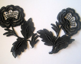 Venice Lace Flower Applique, Black, 2 3/4 x 4 inch, x 2, For Scrapbook, Apparel, Accessories, Mixed Media, Victorian Crafts