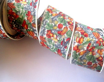 "Garden Produce Thick Cotton Ribbon Trim, Multi Color, 2 1/2"" inch wide, 1 yard, For Victorian & Romantic Crafts"