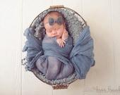 Gray Linen Bow Baby Flower Headband, Newborn Headband, Baby Flower Headband, Baby Girl Flower Headband, Photography Prop