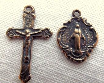Bronze Tiny Crucifix Miraculous Medal Rosary Bracelet Set