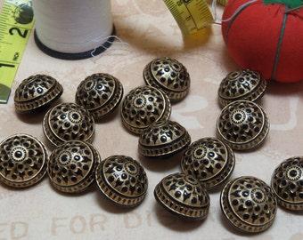 Vintage Plastic Black and Gold Buttons Set of 15 Ornate Decorative