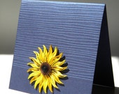 Sunflower and cobalt / Sunflower and blue / Sunflower card / Quilled card