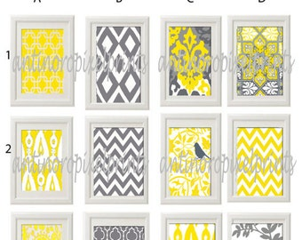 Vintage / Modern inspired Art Prints Collection - Any (3) 4x4  Print - Featured in Yellow Grey White  (UNFRAMED)