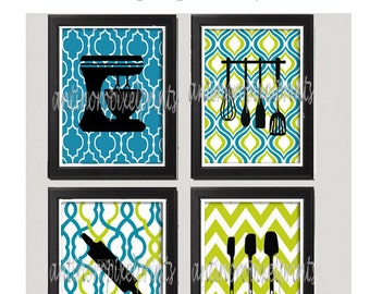Turquoise Chartruese Unframed Kitchen Utensil Tool Art Collection  -Set of (4) - 8x10 Prints Custom Colors and sizes Available