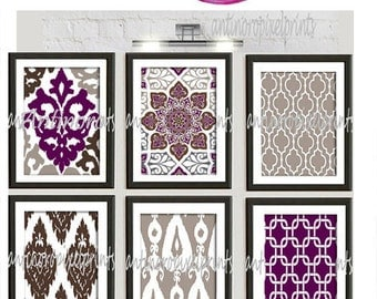 Vintage / Modern Inspired Art Prints Collection -Set of 6 - 8x10 Prints  - Featured in Purple Taupe Brown White (UNFRAMED)