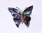 Alpaca Mexico Abalone Butterfly Brooch, silver mother of pearl butterfly pin, vintage Mexican silver