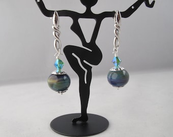 Lampwork and Sterling Silver Post Earrings with Crystal Accents
