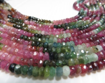 Tourmaline 100% Natural 5 Strand X14 Inches  Lot Good Quality Micro Faceted Roan dell Beads Size 3.50 mm To 4 mm Approx