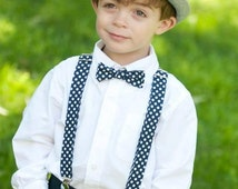 Navy Polka Dot Bow Tie and Suspender set ( Riley Blake Chevron and Polka Dots/ Men, boys, baby, toddler, infant) outfit