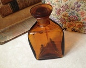 Vintage Amber Glass Apothecary Bottle // With Stopper