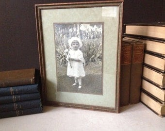 Early 1900s Photograph Young Girl Child Original Frame Sepia Tone Picture