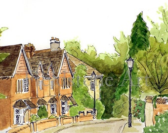 Oxford England 5x7 watercolor print painting art