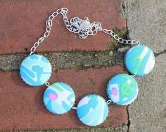 "Lilly Pulitzer ""High Beams"" Fabric Covered Button Necklace"