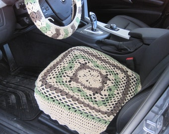 Crochet Car Front Seat Cover - oatmeal/tea leaf/taupe heather (CCFSC1B)