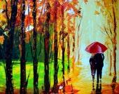 Original Painting 35 x 26 - A Couple With Umbrella - Rain Original Painting - Acrylic Impasto Contemporary Wall Art Rainy Abstract Landscape