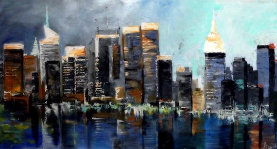 Original Oil Painting 48 X 26 New York City Manhattan