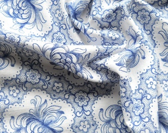 blue floral fabric vintage fabric vintage french fabric antique blue floral german fabric quilting patchwork fabric 124