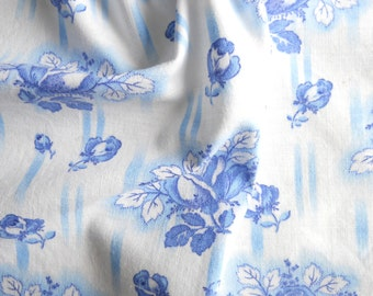vintage french fabric antique french fabric blue roses fabric quilting fabric patchwork fabric 135