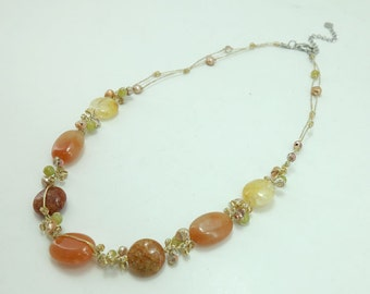 Carnelian,freshwater pearl,crystal on silk thread necklace.