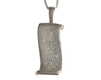 "Sterling silver Aaronic Blessing ""scroll"" pendant - pd002"