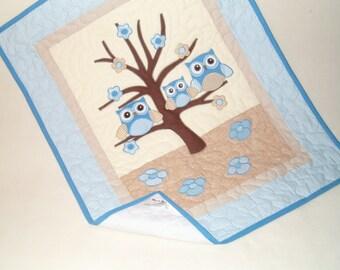 Organic Baby Blanket, Owl Crib Blanket,  Owl  Baby Blanket,  Blue Cream adn Beige Blanket,  Owl Nursery Decor