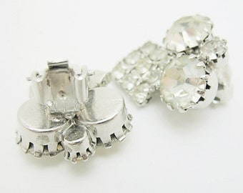 Rhinestone Clip On earrings Silver Tone