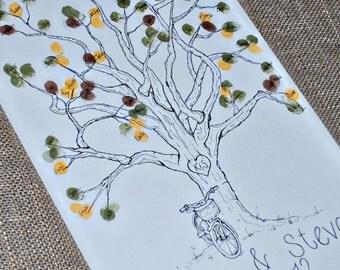 Thumbprint Guest Book with Bike Detail- Medium Size- Fits 90-150 Thumbprints