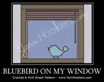 Bluebird on My Window - Afghan Crochet Graph Pattern Chart - Instant Download