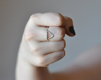 Sterling silver triangle ring. Geometric, minimalist, everyday, eco friendly jewelry
