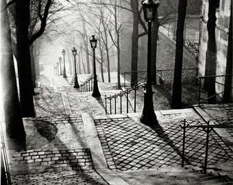 Postcard. Steps of Montmartre, Paris, 1936. Photograph by BRASSAI. Mint. Printed 1900's.