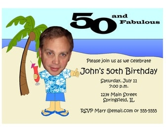 Hawaiian Themed Birthday Invitation - Beach Unique Funny Custom Photo ...
