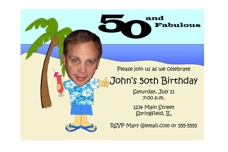 Hawaiian Themed Birthday Invitation Beach Unique Funny – 50th Birthday Invitations Funny