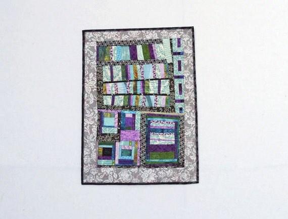 Modern Free Form Geometric Improvisational Pieced Wall Hanging Art Quilt