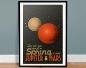 Jupiter & Mars • Vintage Poster - Retro Art Print