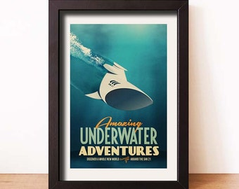 "Underwater Adventures 11"" x 17"" - Vintage Poster - Retro Art Print - Kids Room Decor"