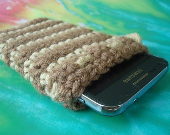 Cell Phone Cozy - Cover - Case - Drawstring Bag - Samsung Galaxy 2 3 4 - Crochet Handmade