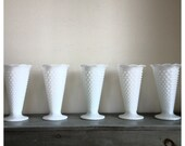 Vintage 5 white Milk glass Hobnail vases /  instant milk glass collection / large vintage milk glass vase / white bud vase / vintage wedding