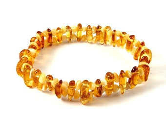 Baltic Amber Bracelet Honey color Yellow Various Shape Beads Stretch