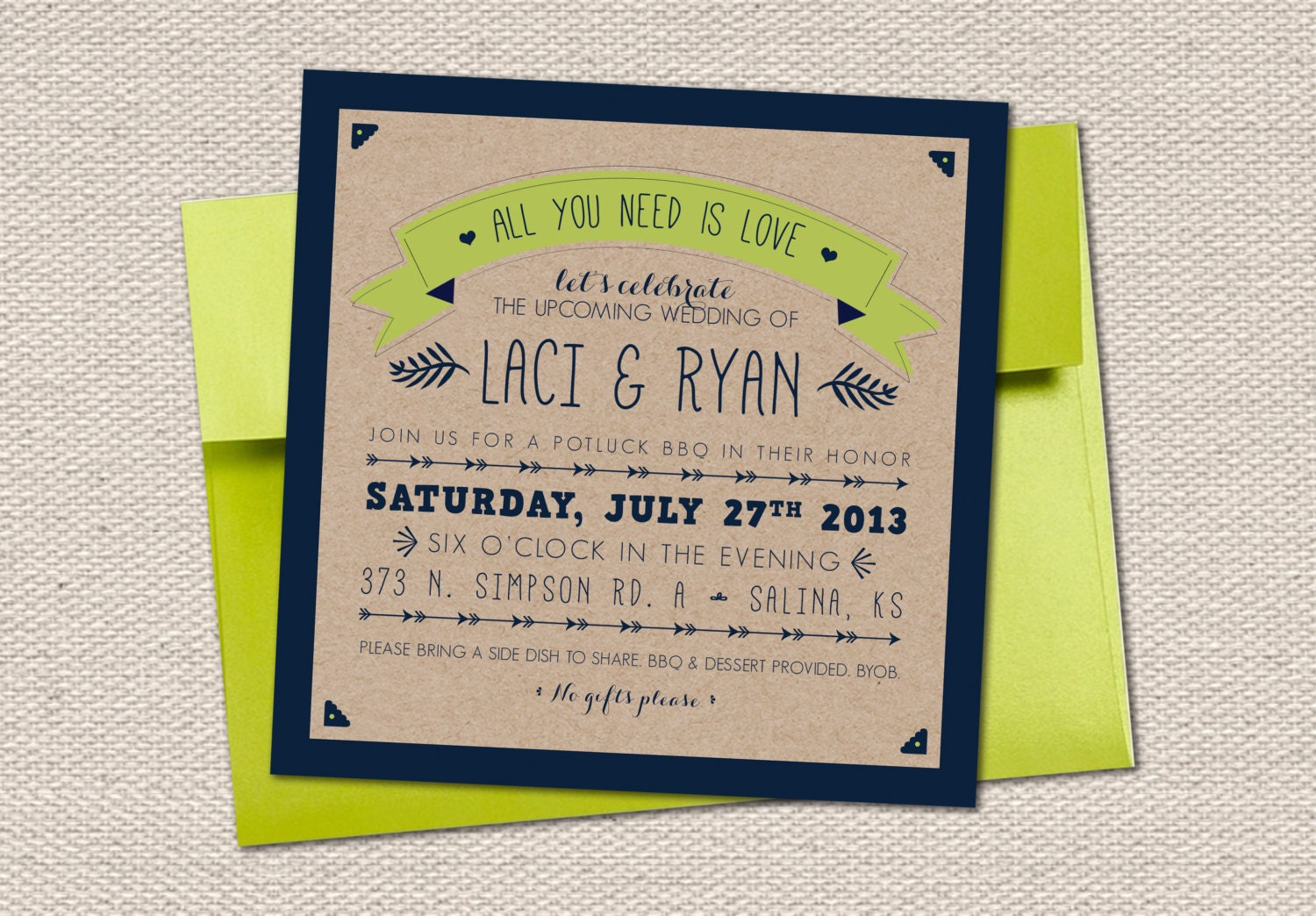 All You Need Is Love Wedding Invitations: All You Need Is Love Couple Shower Invitation // Kraft Paper