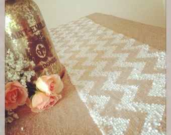 Champagne Sequin, Chevron, Sequin Table Runners, Choose size, Winter Wedding, New Year's Wedding, Baby Shower, Bridal Shower