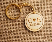 Initial hearts engraved wooden keychain