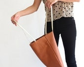 GOLDEN BROWN leather tote bag, shoulder leather bag, women bag, everyday bag - LeahLerner