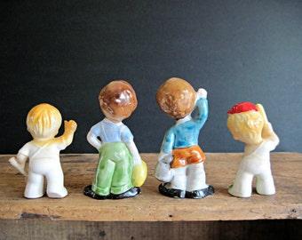 Vintage Ceramic Figurines, Miniature Figurines, Antique Collectibles, Made in Japan, Ceramic Statues, Little Kids, Children, Little Boys