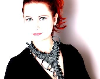 NightFlight - a sparkling necklace - Beadwoven Necklace.OAAK Swarovski necklace.Beadwoven elegant black necklace.Beadwork with Swarovski.