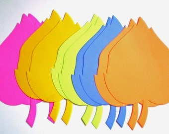 Large Die Cut Bright/Neon Paper Leaves - decoration, parties, wishing tree, events