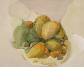 Oil painting original Stones and Bones from the series stones are the bones of the earth. Jan Smiley