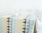 Laminated Linen Blend Waterproof Fabric Colorful Triangles Geometric By the Yard 39915 - 472