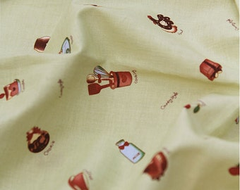 Cooking Style Cotton Fabric - Green - Cupcake Coffee Apple Toast By the Yard 41872