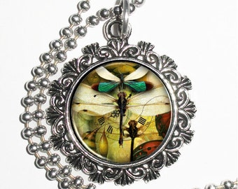 Clock and Trio of Dragonflies Art Pendant, Steampunk Resin Charm Necklace